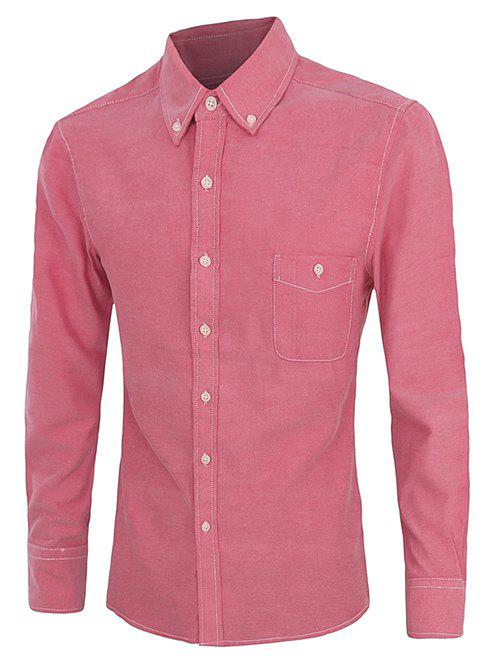 Casual Plus Size Button-down Long Sleeves Solid Color Shirts For Men - ROSE MADDER 2XL