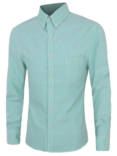 Casual Plus Size Button-down Long Sleeves Solid Color Shirts For Men - LIGHT GREEN 4XL