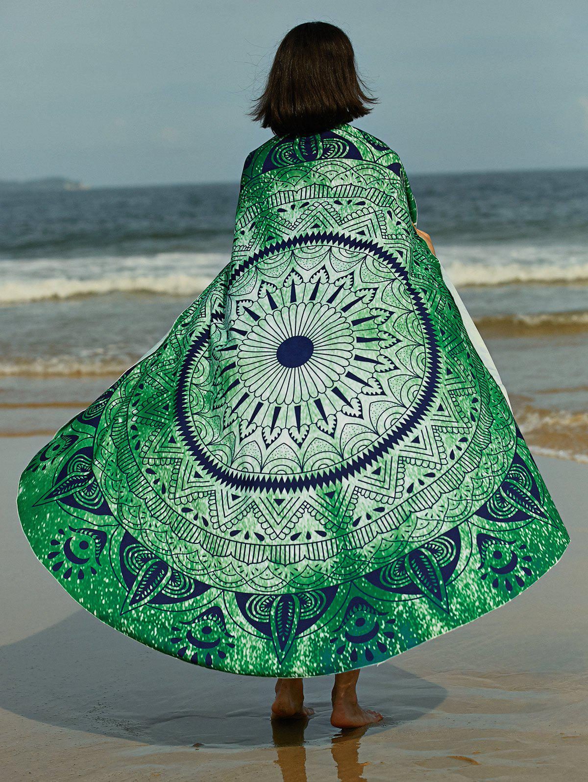 Bohemian Women's Tribal Print Circle Beach Sarong - GREEN ONE SIZE(FIT SIZE XS TO M)