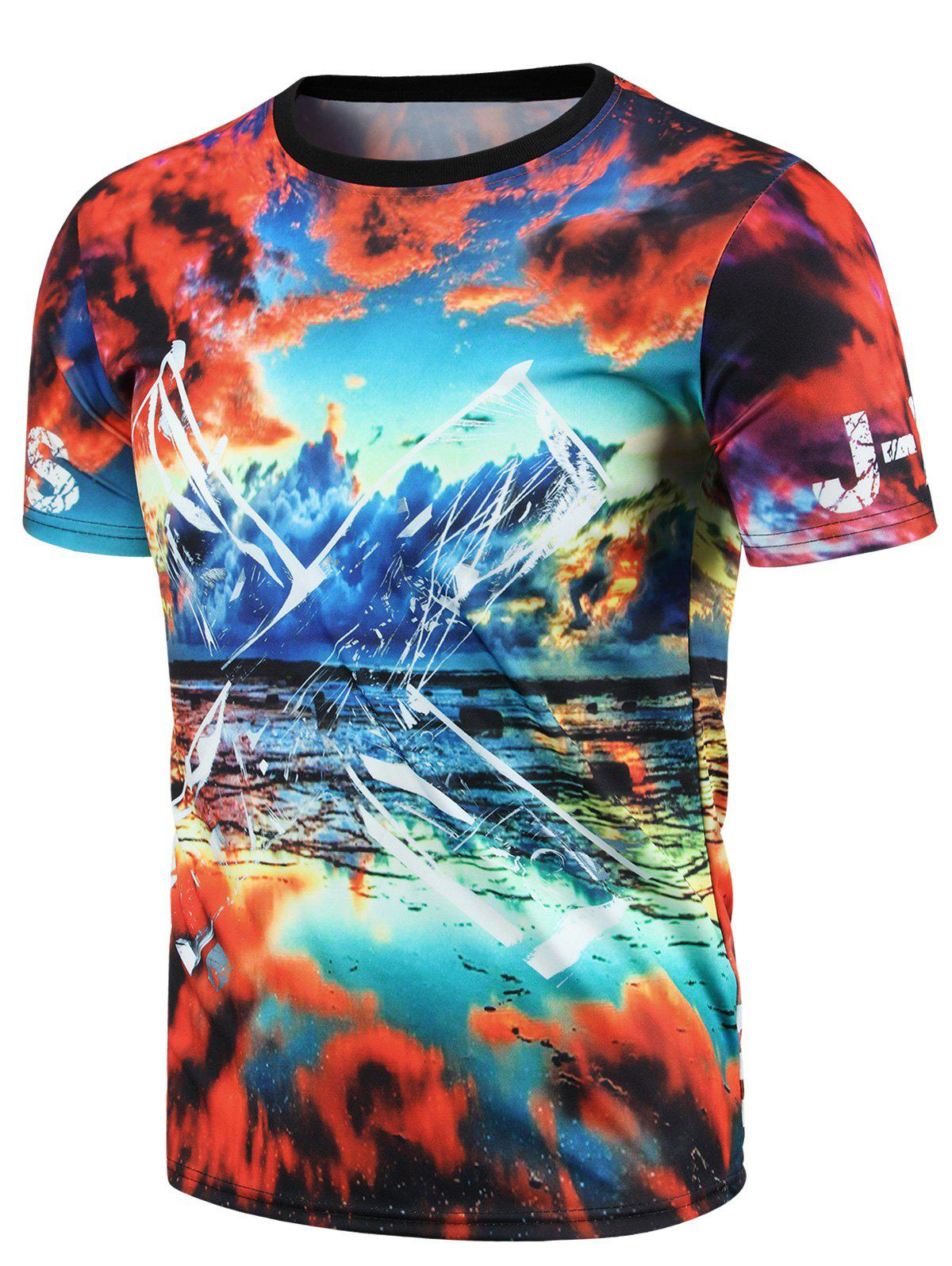 3D Colorful Sky Print Round Neck Short Sleeve Men's T-Shirt - COLORMIX 2XL