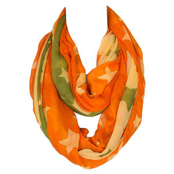 Stylish Five-Pointed Stars Pattern Multicolor Women's Voile Infinite Scarf - ORANGE