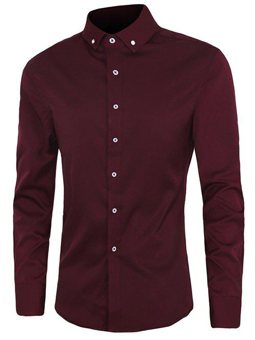 Casual Plus Size Button-down Solid Color Shirts For Men - WINE RED 2XL