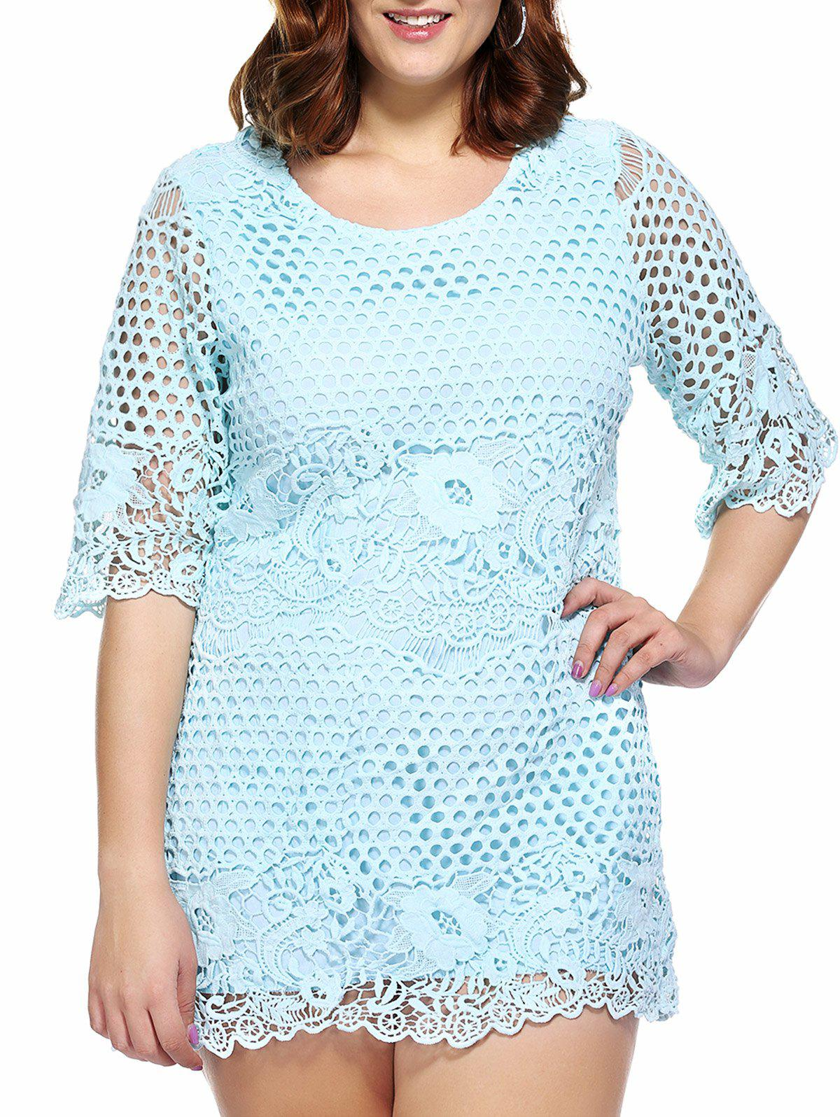 Stylish Women's Plus Size Cutwork Lace Overlay Dress - AZURE ONE SIZE(FIT SIZE L TO 3XL)