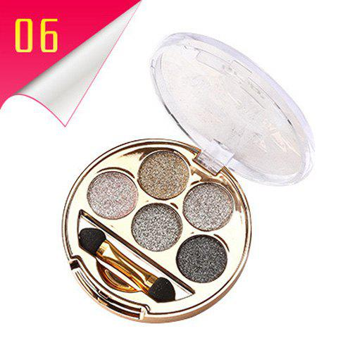 Cosmetic 5 Colours Long Wear Brightening Shimmery Diamond Eyeshadow Palette with Brush -