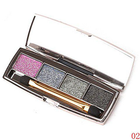 Cosmetic 4 Colours Earth Colors Brightening Shimmery Diamond Eyeshadow Palette with Mirror and Brush - 2