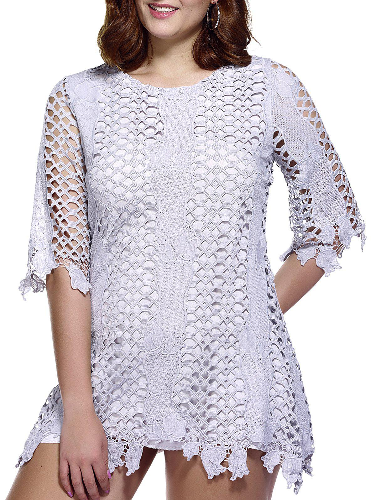 Stylish Women's Plus Size Hollow Out Lace Overlay Dress - GRAY ONE SIZE(FIT SIZE L TO 3XL)