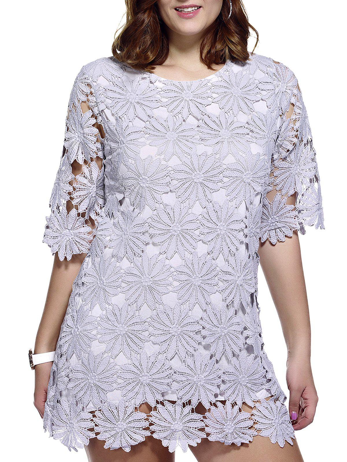Stylish Women's Plus Size Floral Pattern Lace Overlay Dress - GRAY ONE SIZE(FIT SIZE L TO 3XL)