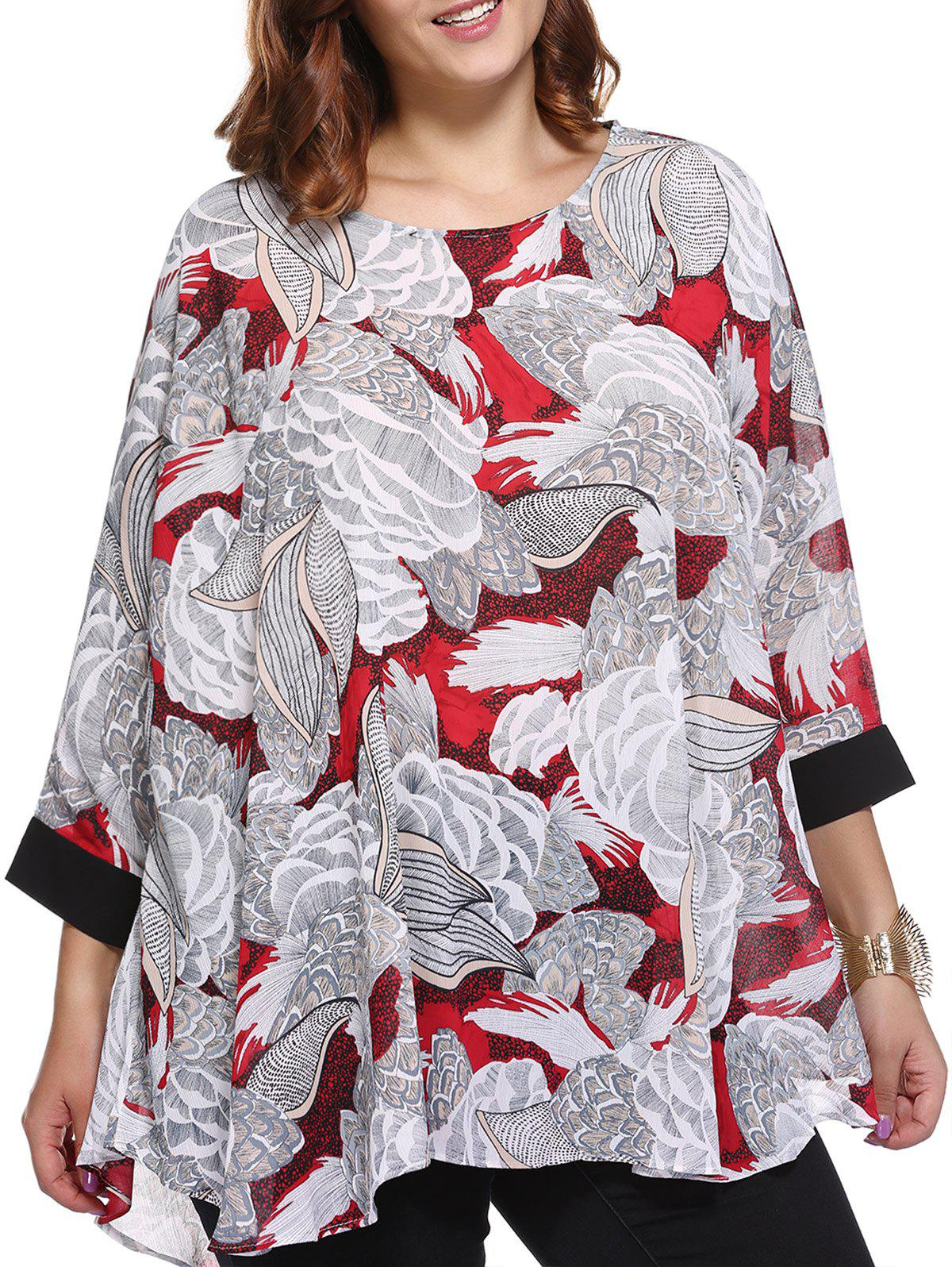 Femmes Élégant  's Plus Size Scoop Neck Blouse à imprimé floral - Rouge ONE SIZE(FIT SIZE L TO 3XL)