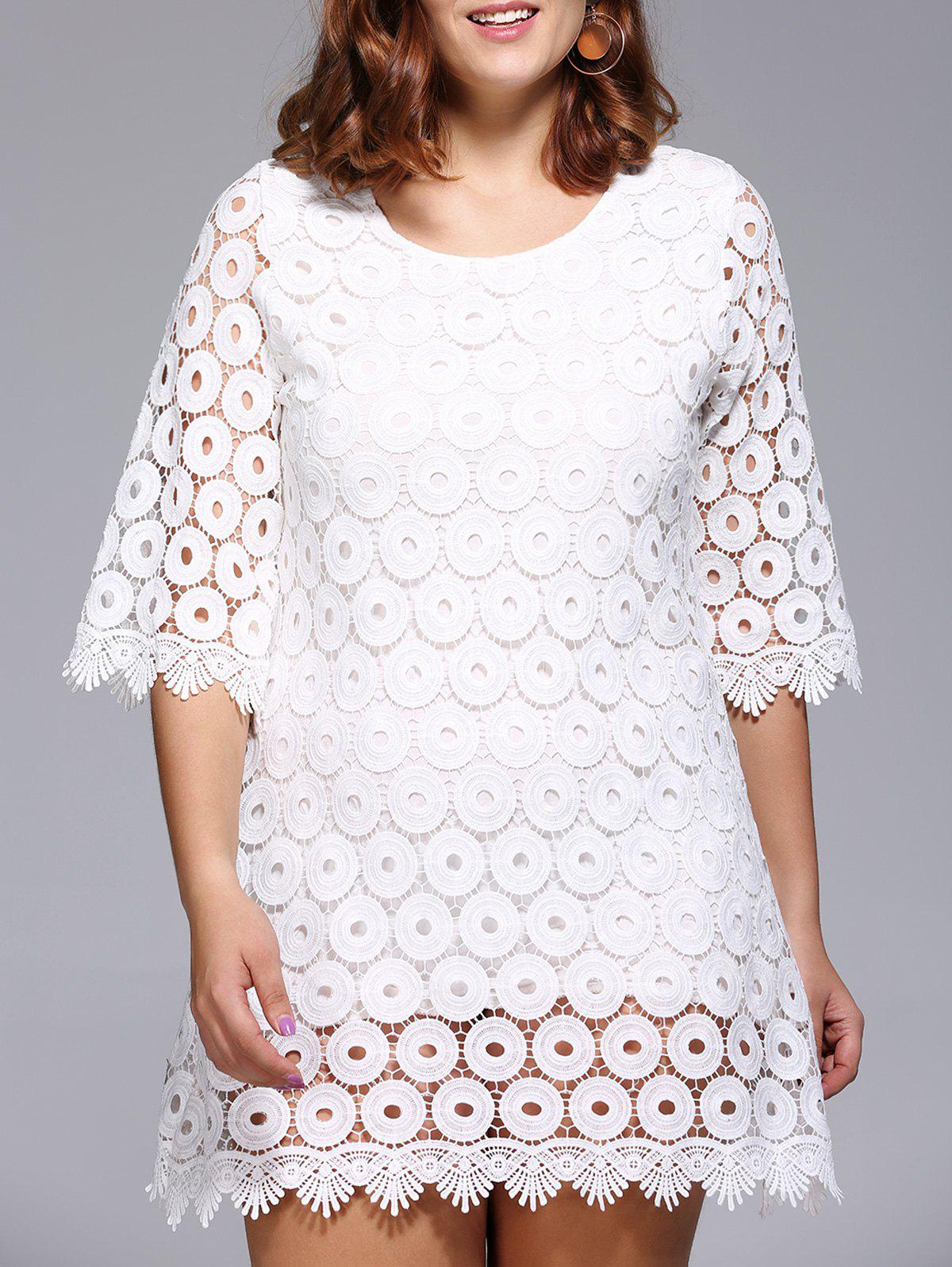 Stylish Women's Plus Size Circle Pattern Lace Overlay Dress - WHITE ONE SIZE(FIT SIZE L TO 3XL)
