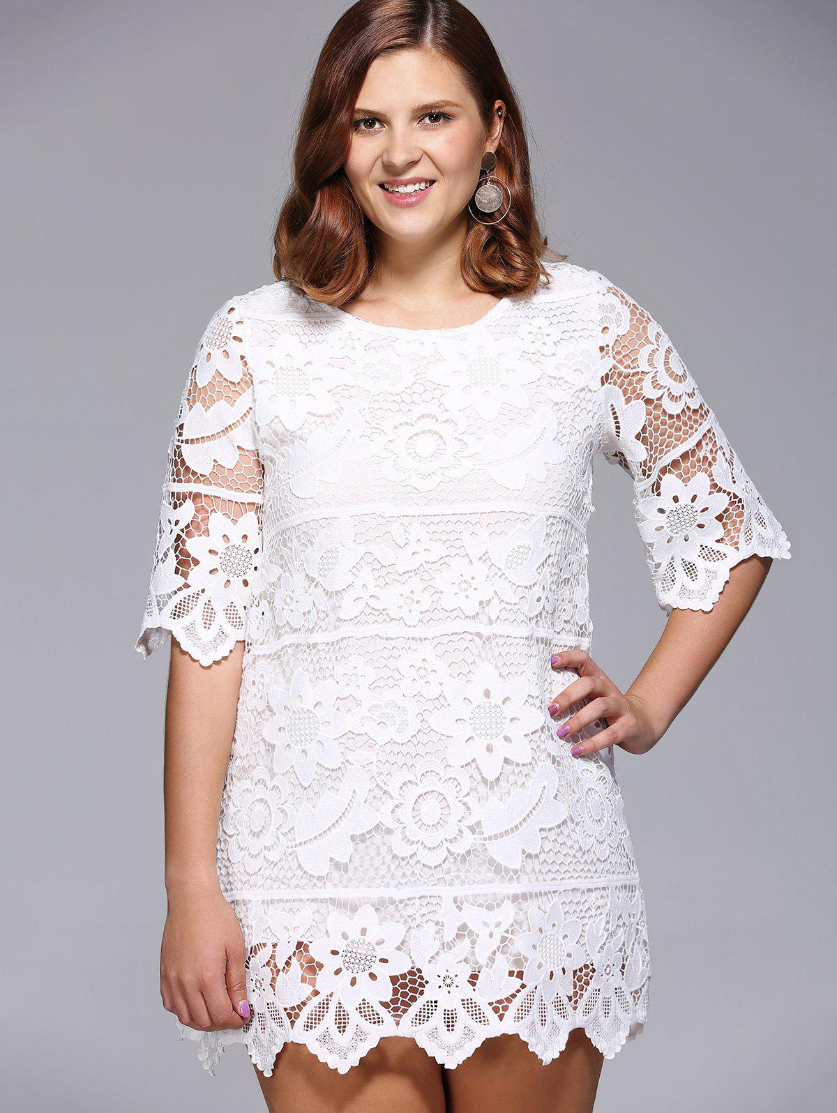 Chic Women's Plus Size Floral Lace Overlay Lined Dress - WHITE ONE SIZE(FIT SIZE L TO 3XL)