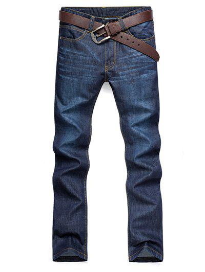 Casual Straight Leg Cat's Whisker Patch Pocket Fitted Men's Zipper Fly Jeans - PURPLISH BLUE 33