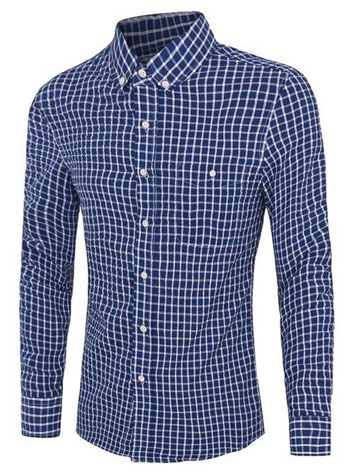 Casual Plus Size Button-down Checked Shirts For Men - DEEP BLUE M