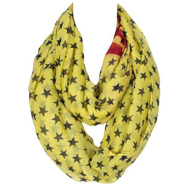 Stylish Women's Five-Pointed Stars Pattern Voile Circle Loop Infinite Scarf - YELLOW