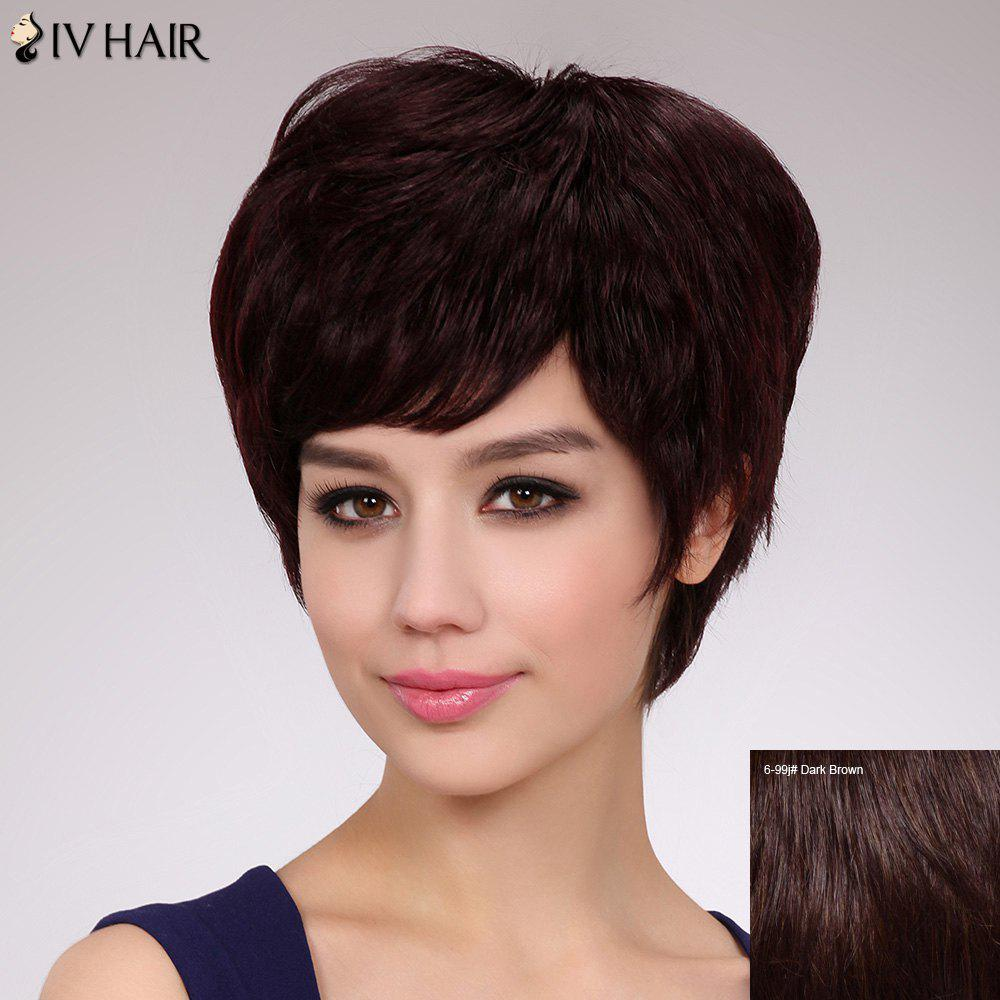 Fluffy Straight Human Hair Elegant Short Capless Siv Hair Wig For Women - DARK BROWN
