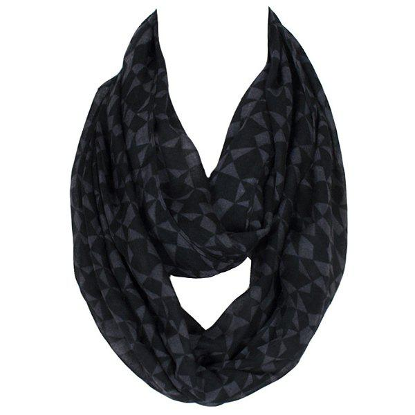 Stylish Women's Geometric and Abstract Star Pattern Voile Circle Loop Infinite Scarf - BLACK