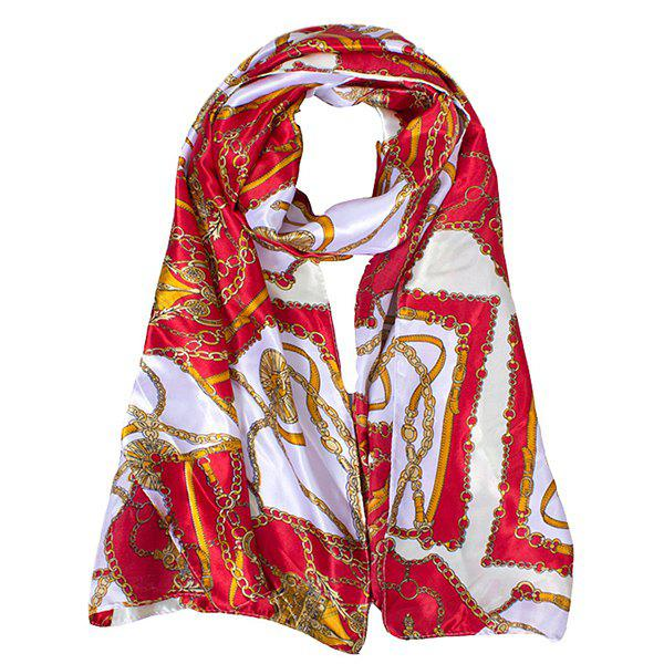 Stylish Bohemian Ethnic Belt Chain Pattern Women's Silky Satin Scarf - RED