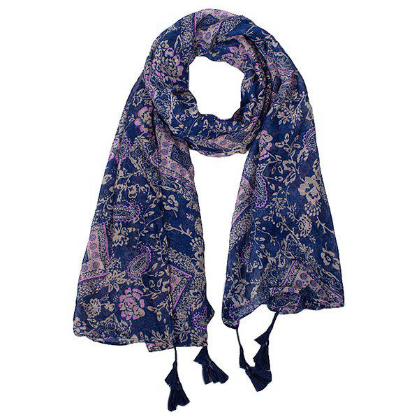 Stylish Arab Paisley and Flower Pattern Tassel Pendant Women's Voile Scarf - CADETBLUE