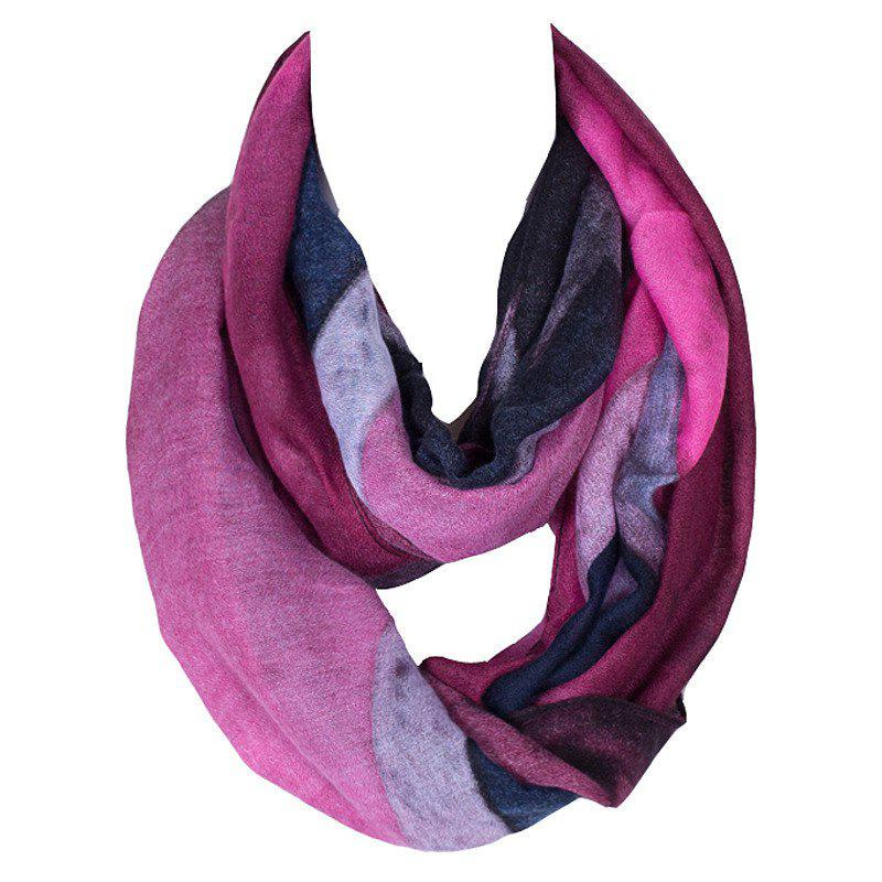 Stylish Women's Five-Pointed Star Pattern Voile Circle Loop Infinite Scarf - ROSE