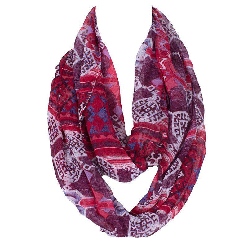 Stylish Women's Ethnic Rhombus Pattern Voile Circle Loop Infinite Scarf - DARK RED