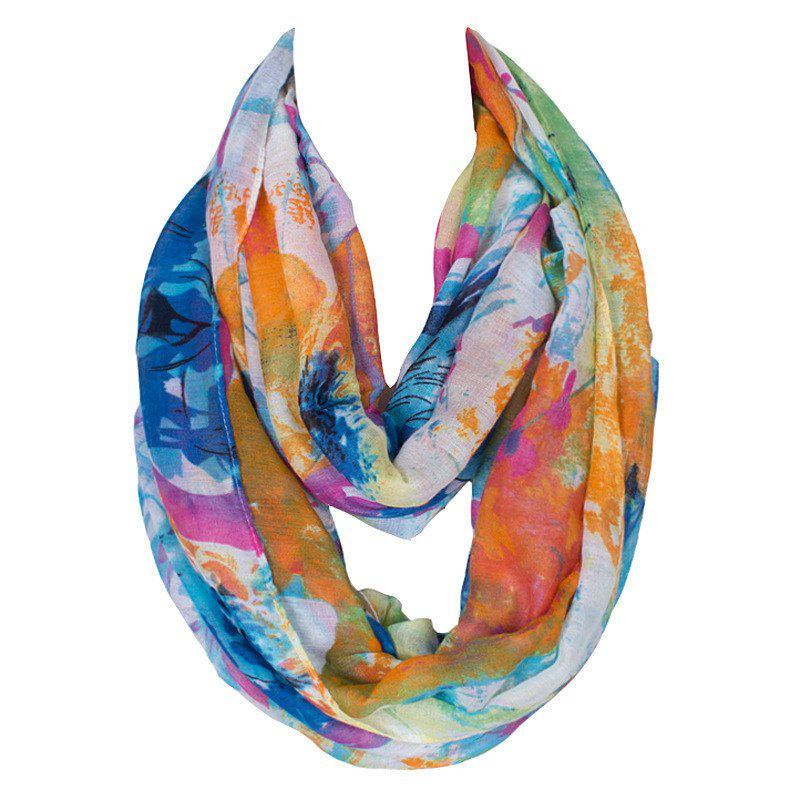 Stylish Women's Splash-Ink Pattern Voile Circle Loop Infinite Scarf