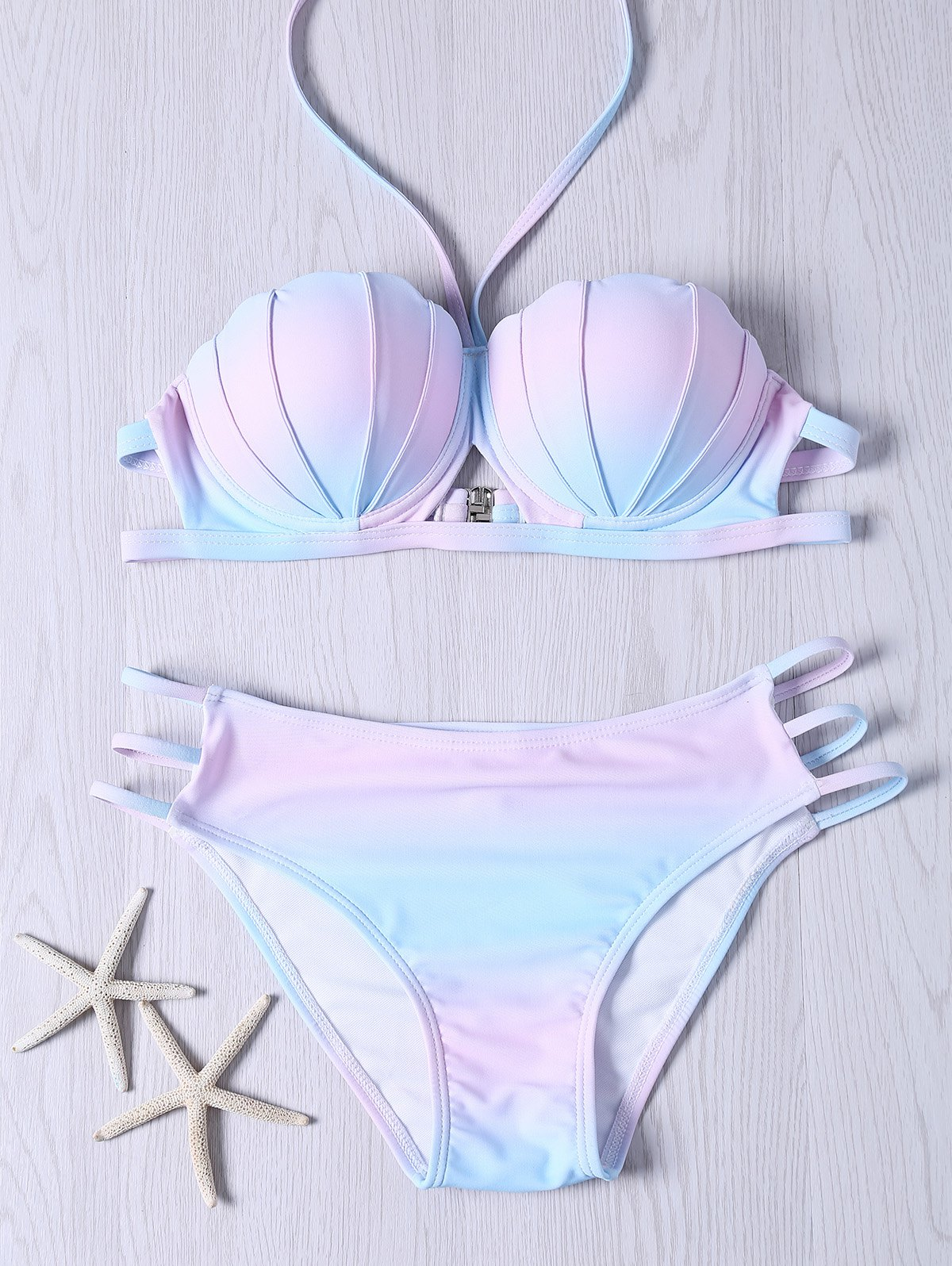 Sweet Ombre Design Halter Neck Bikini Set - COLORMIX 2XL