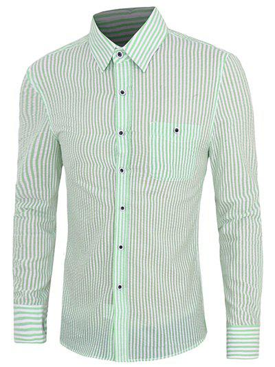 Casual Plus Size Turn Down Collar Striped Shirts For Men - LIGHT GREEN XL