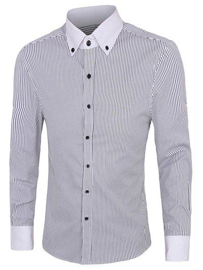 Casual Plus Size Button-down Striped Shirts For Men - WHITE/BLACK 4XL