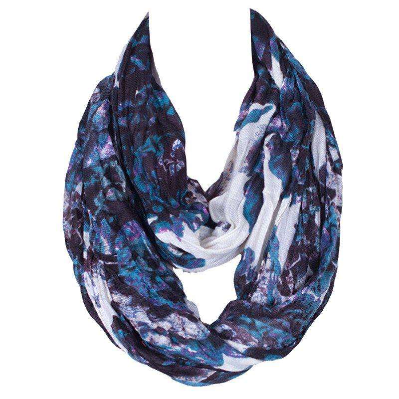 Stylish Women's Ink Painting Flower Pattern Voile Circle Loop Infinite Scarf