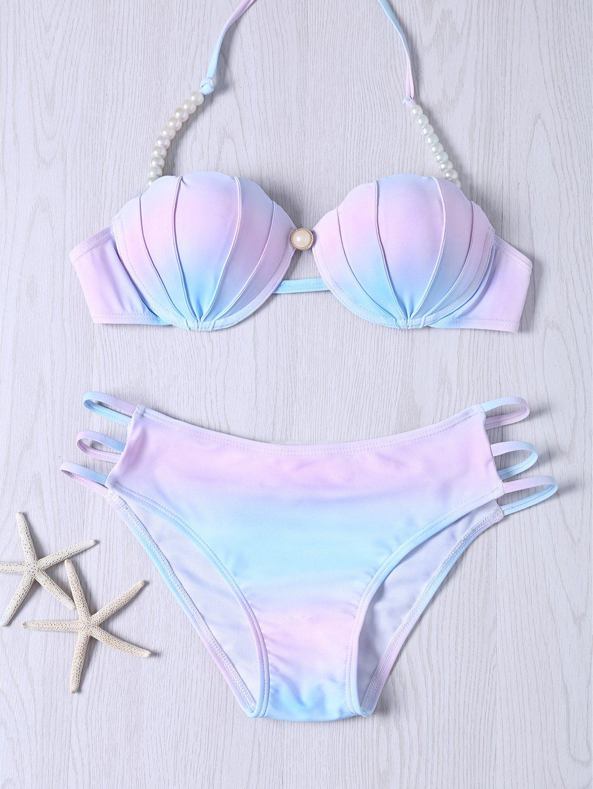 Stylish Color Ombre Beaded Halter Neck Bikini Set