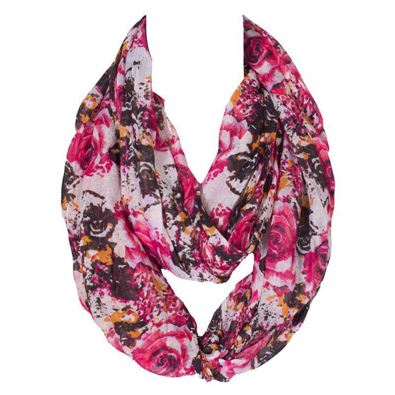 Stylish Women's Roses Painting Pattern Voile Circle Loop Infinite Scarf