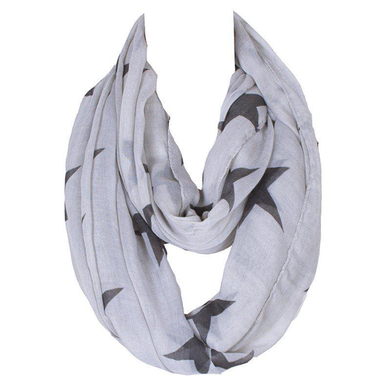 Stylish Women's Big Five-Pointed Stars Pattern Voile Circle Loop Infinite Scarf - LIGHT GRAY