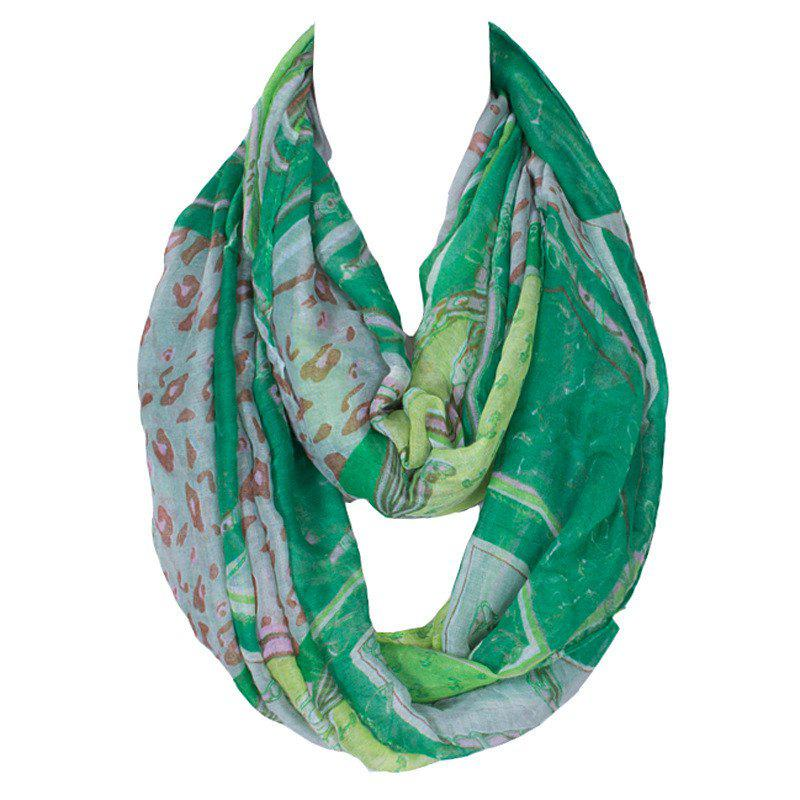 Stylish Women's Leopard Patchwork Pattern Voile Circle Loop Infinite Scarf - GREEN