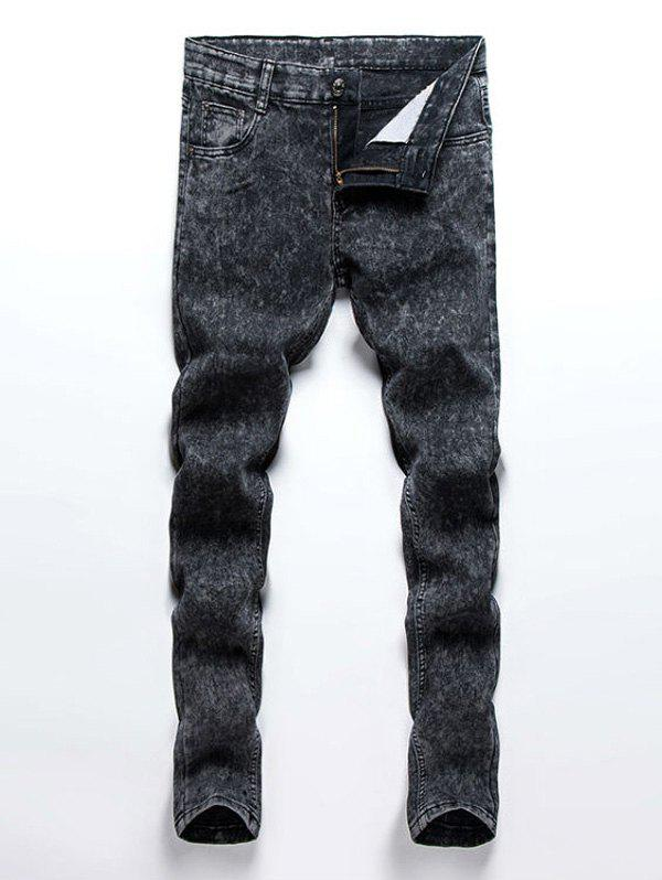 Elegant Knit Pattern Pocket Design Fitted Men's Straight Leg Zipper Fly Jeans - COLORMIX 34