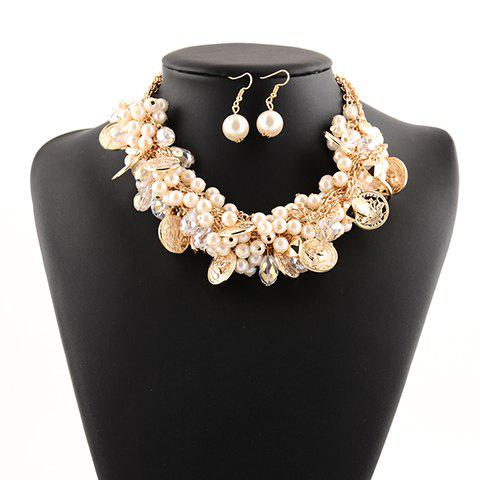 A Suit of Faux Pearl Coins Pendant Necklace and Earrings - WHITE
