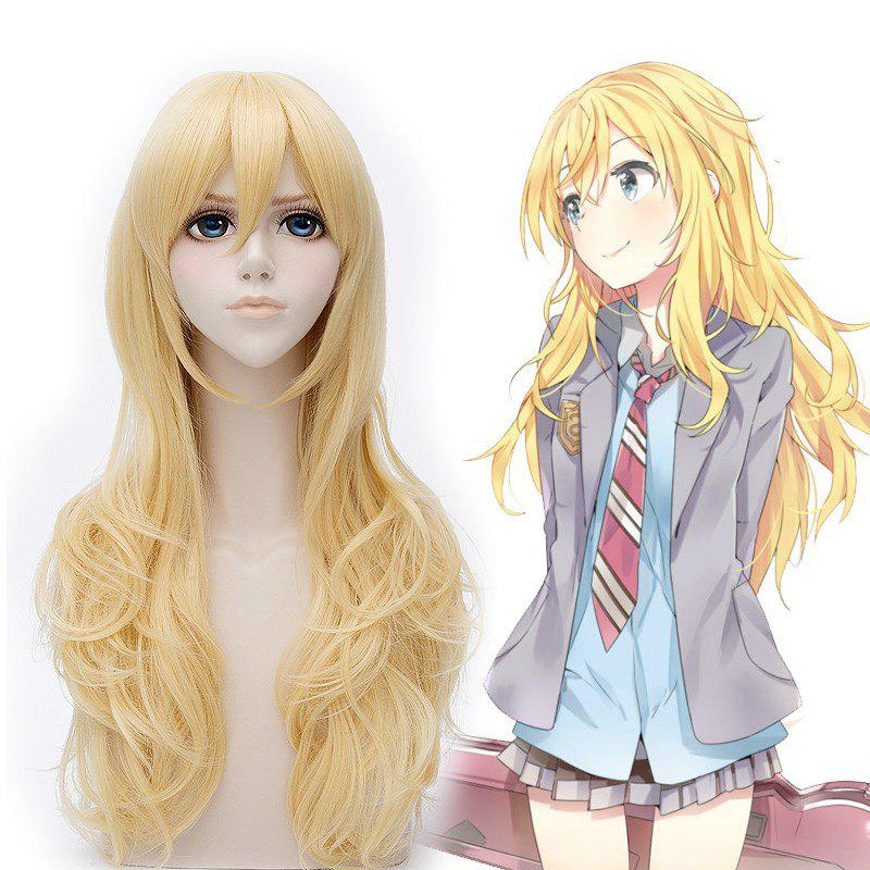 Chic Miyazono Kaori Cosplay Synthetic Full Bang Curly Long Wig - GOLDEN
