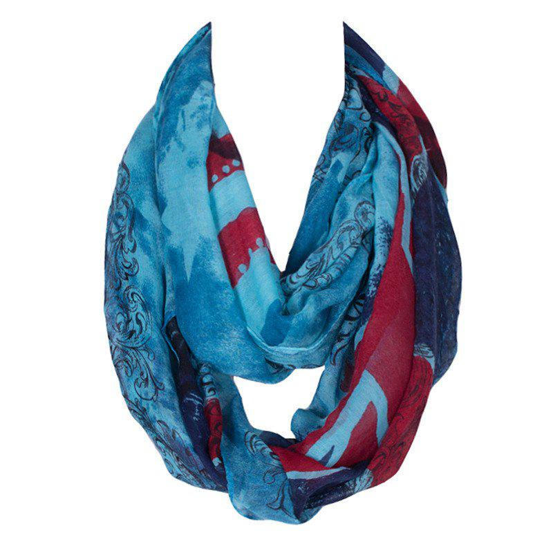Stylish Women's England Flag and Skull Pattern Voile Circle Loop Infinite Scarf - LAKE BLUE