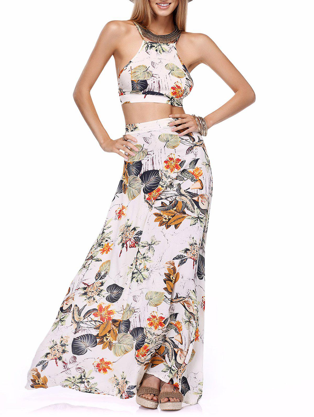 Back Lace-Up Cross Crop Top and High-Waist Maxi Skirt Twinset - WHITE L