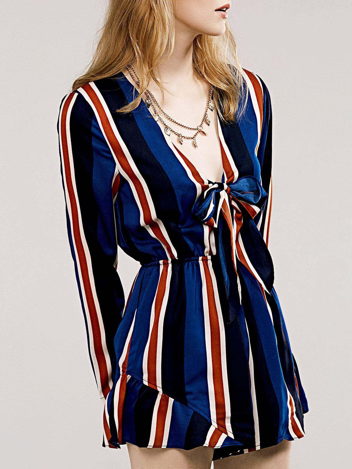 Stylish Women's Plunging Neck Striped Flounce Romper - DEEP BLUE L