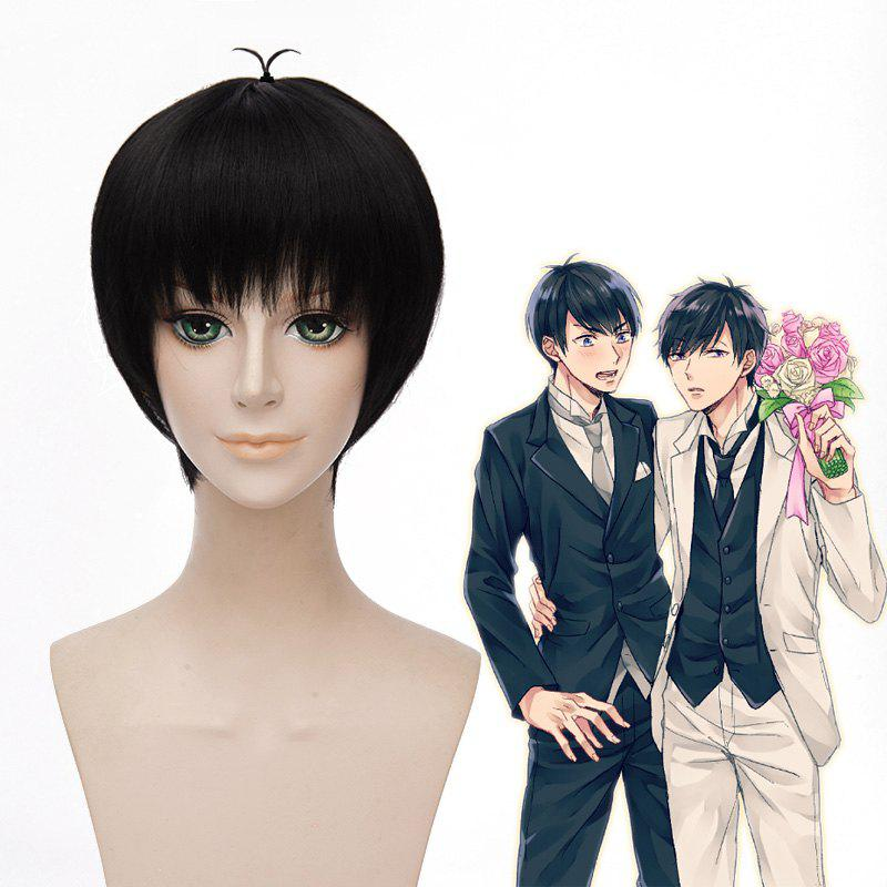 Men's Fluffy Karamatsu Full Bang Synthetic Cosplay Wig - BLACK