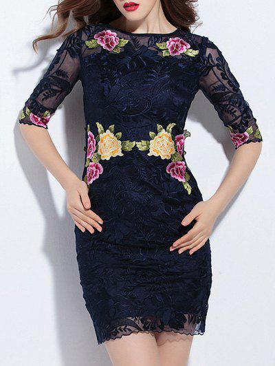 Trendy Embroidered Lace Bodycon Dress - PURPLISH BLUE 2XL