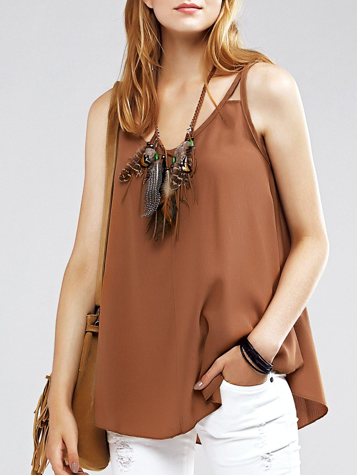 Strappy Curved Hem Chiffon Alluring Women's Tank Top - CAMEL XL