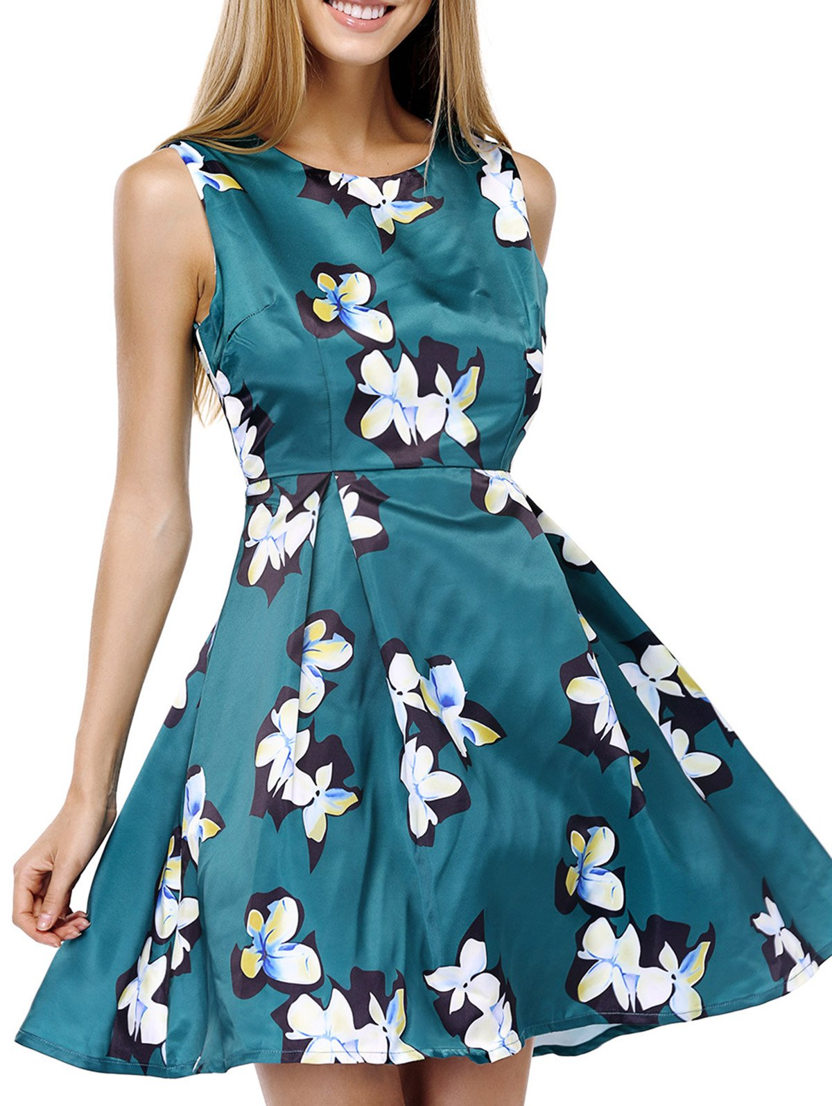 Elegant Scoop Neck Sleeveless Floral Print Fit and Flare Dress For Women - GREEN S