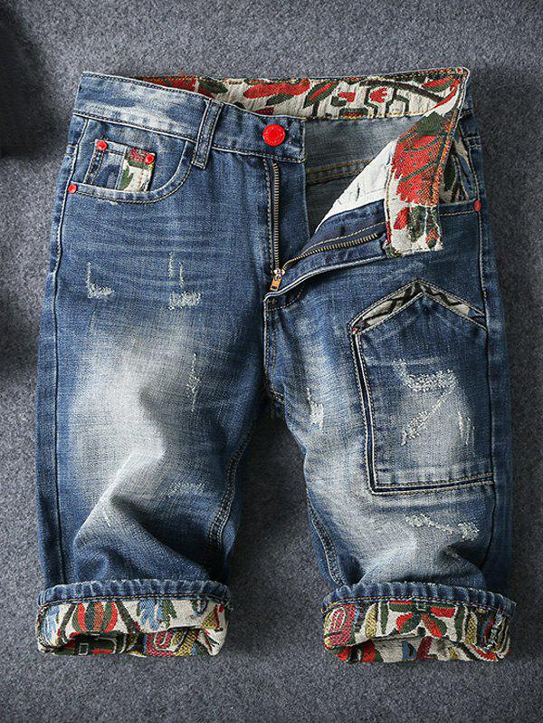 Embroidery Cat's Whisker Design Fitted Straight Leg Zipper Fly Men's Denim Shorts - BLUE 32
