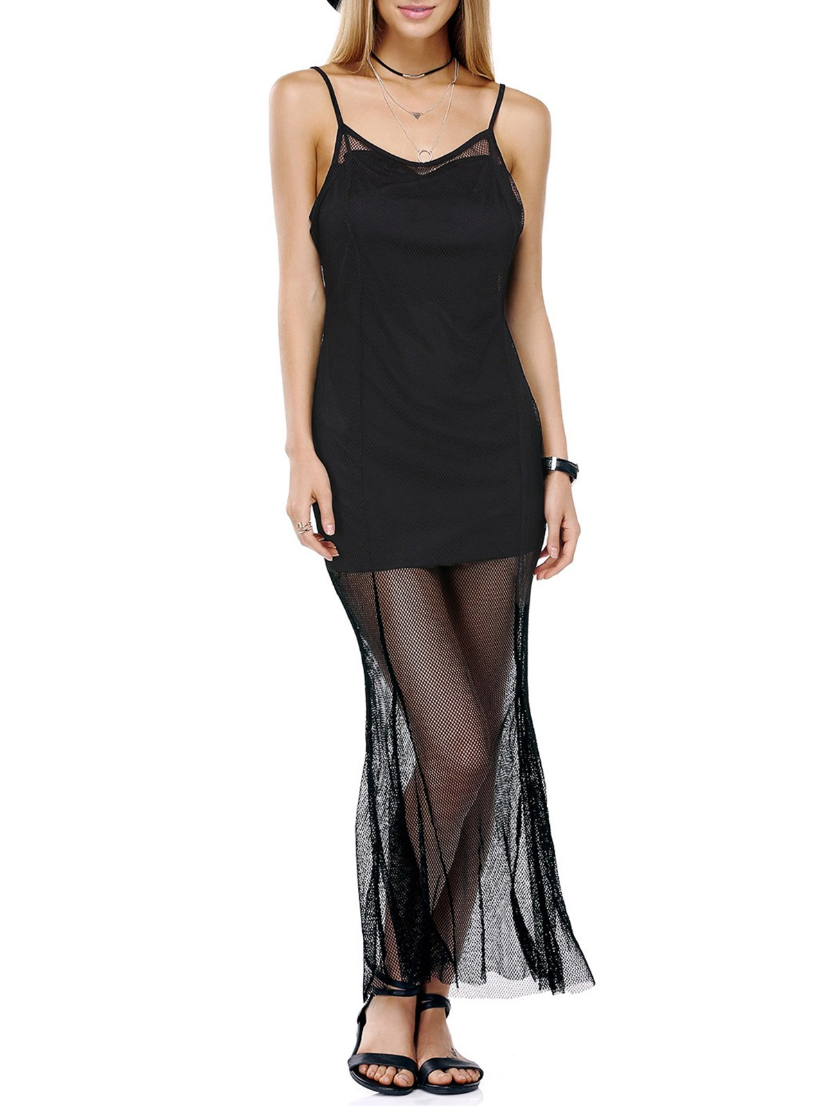 Attractive Spaghetti Straps Mesh See-Through Solid Color Dress For Women - BLACK XL