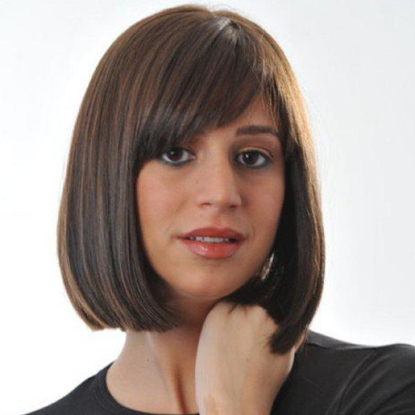 Vogue Women's Medium Straight Side Bang Capless Brown Mixed Synthetic Wig