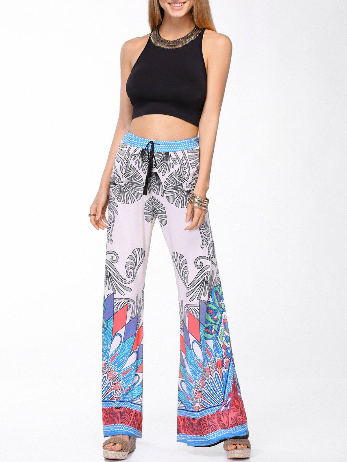 Stylish Round Neck Tank Top and Printed Wide Leg Pants Set For Women - COLORMIX L