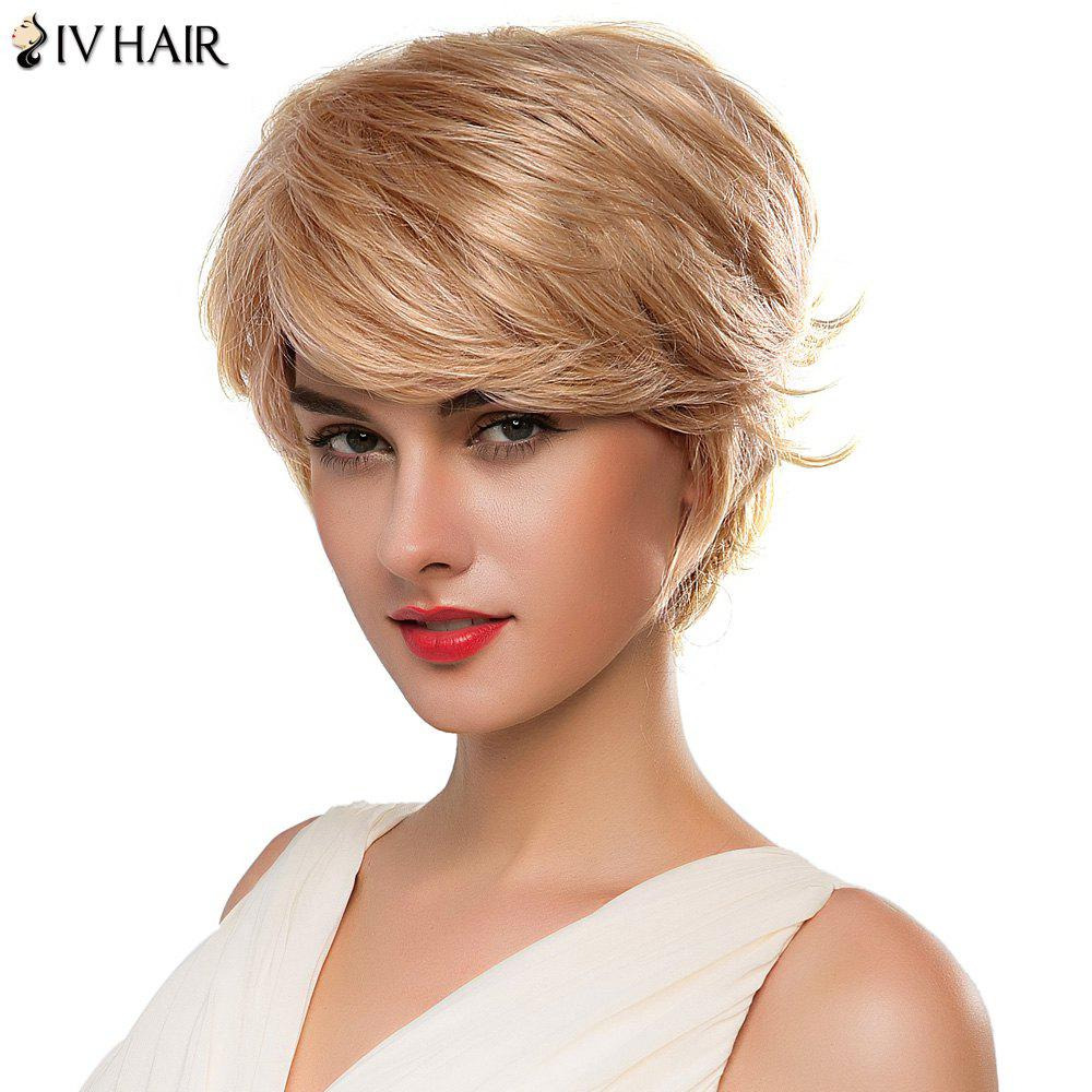 Fashion Straight Short Siv Hair Capless Anti Alice Huamn Hair Wig For Women - BLONDE