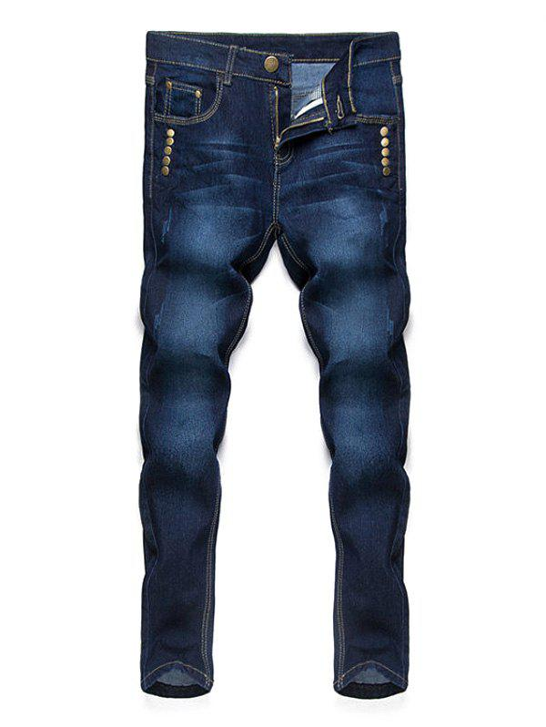 Simple Straight Leg Cat's Whisker Rivets Embellished Fitted Men's Zipper Fly Jeans - DEEP BLUE 36