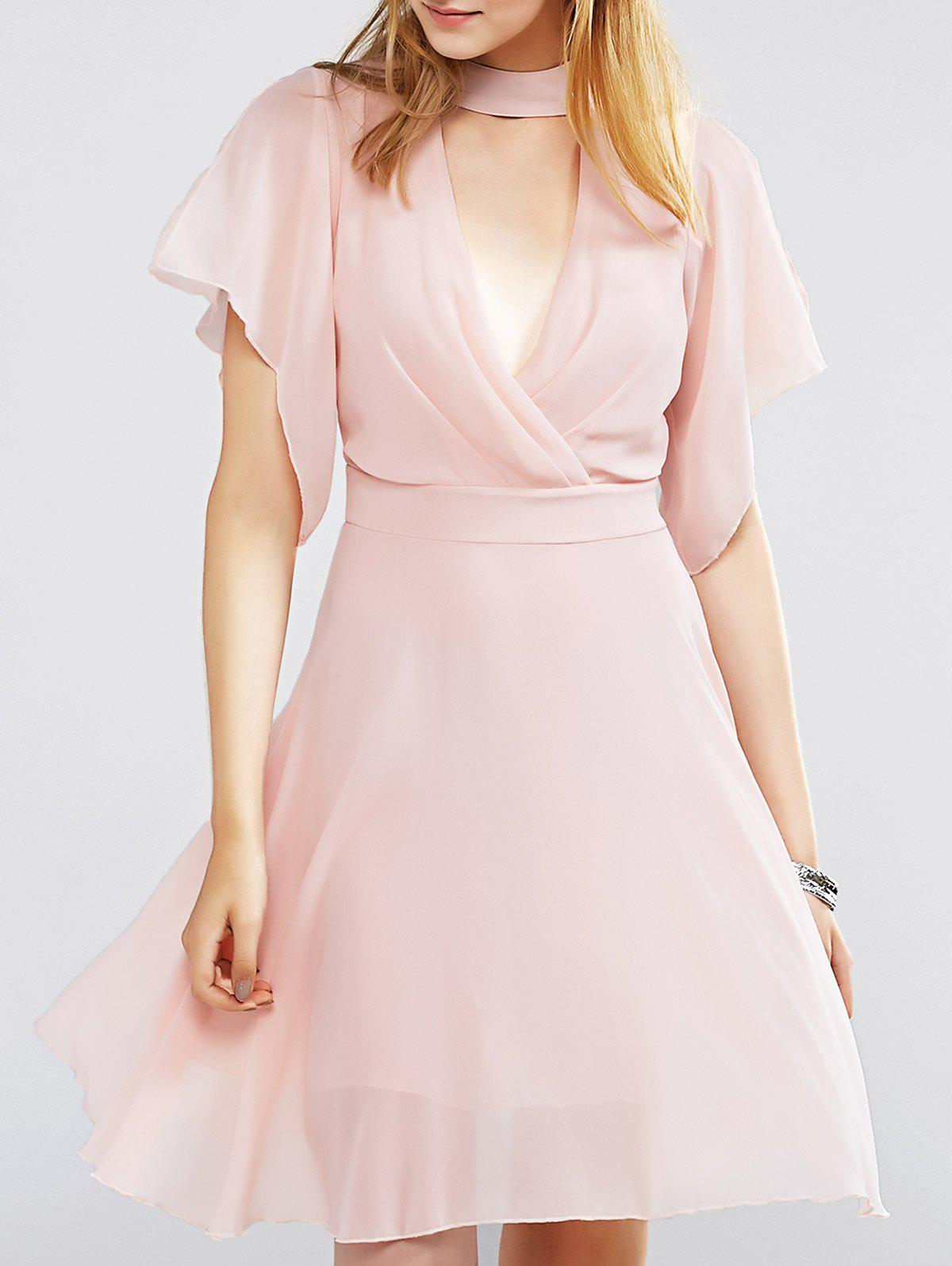Sweet Choker Surplice Nipped Waist Women's Dress - PINK XL