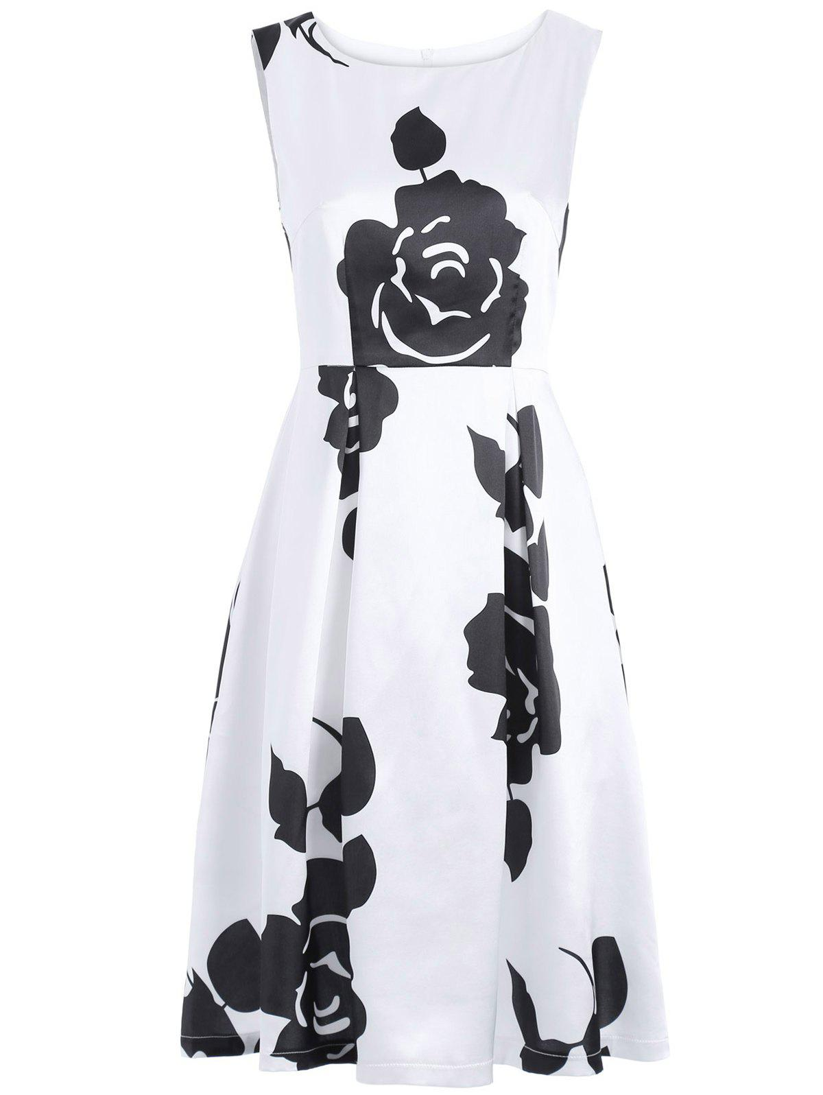 Floral Print Sleeveless Round Neck Dress - WHITE/BLACK XL